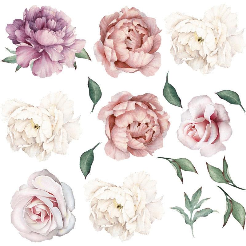 Pintura de mano estilo Poeny flores pegatinas de pared para pared de salón calcomanía bebé vivero murales chicas decoración de pared decoración de carteles