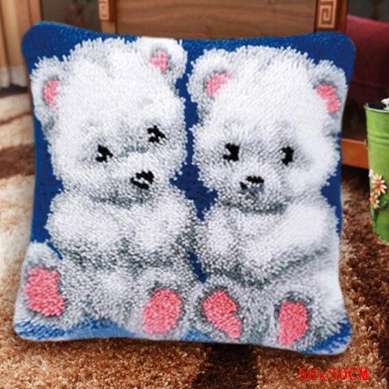 Juegos de aguja de lengüeta punto de cruz bordado para alfombras segmento bordado alfombra para armar juego de ganchos almohada oso hierba lana gruesa