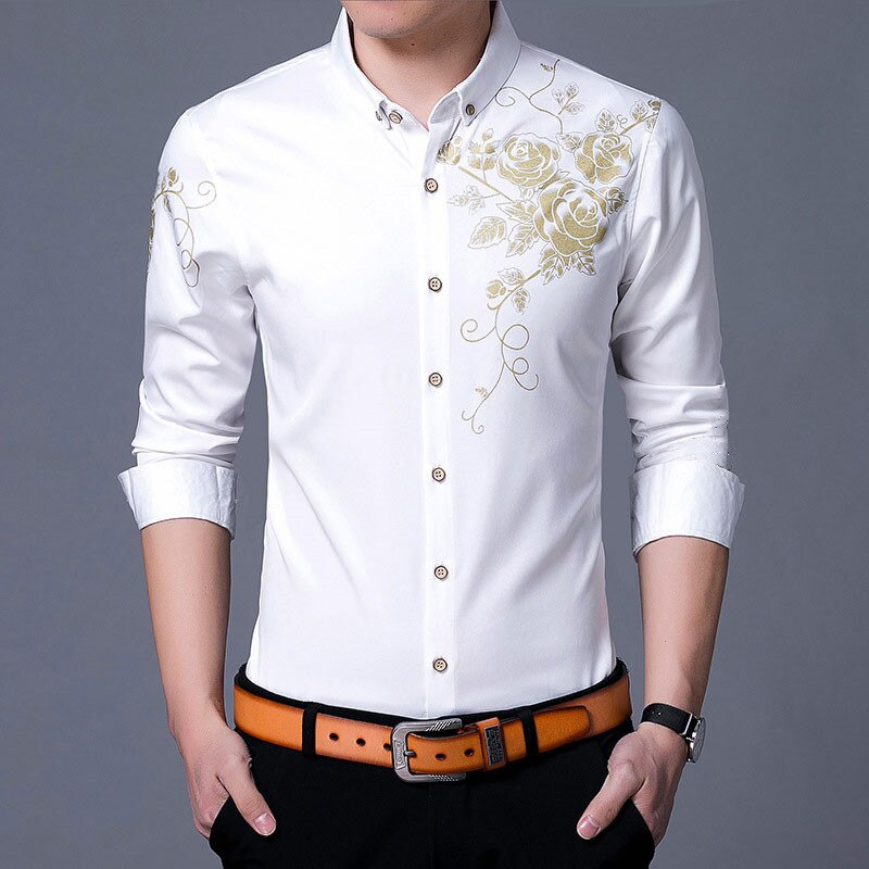 Plus size 6XL 7XL shirt 2019 fashion gold rose flower print button shirt mens slim long-sleeved business shirt mens petticoat