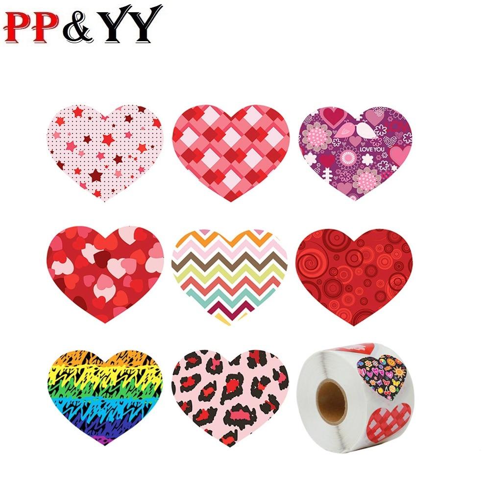 Modelos de explosión, venta al por mayor, pegatinas de amor para el Día de San Valentín, 1 pulgada, pegatinas de sellado, 8 patrones, pegatinas de decoración de regalo