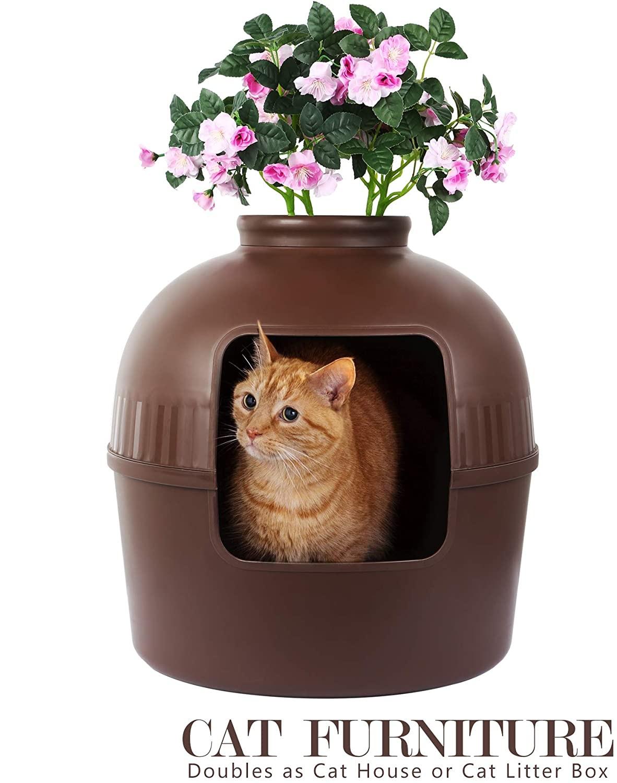 Caixa de areia do gato como a mobília da casa do gato ou a planta coberta da caixa de areia do gato escondida caixa de areia para o multi-gato