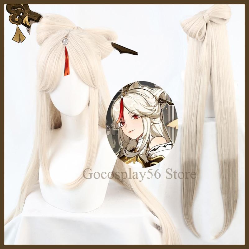 Парик Ningguang для косплея геншина, ударный, длина 120 см, Градуированный бежевый, 8-образный бант, термостойкие волосы, для ролевых игр на Хэллоуи...