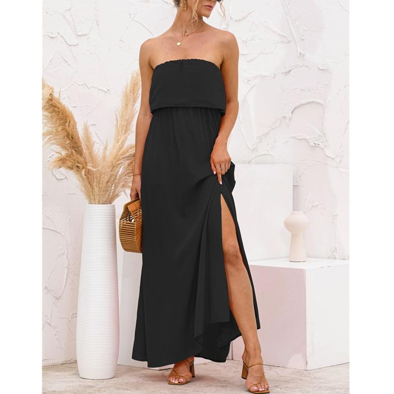 Women Strapless Sexy Long Dress Side Split Boho Beach Summer Streetwear Solid Color Splice 2021 Black Party Holiday Maxi Dresses