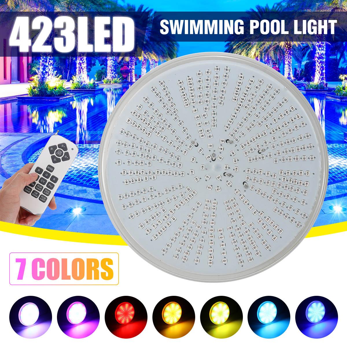 Oświetlenie do basenu Led 423leds AC/DC12V RGB żywica wymiana PAR56 lampa wodoodporna IP68 wielokolorowy 2m drut podwodne lampy