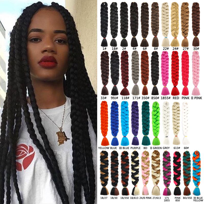 Synthetic Jumbo Braids 41 inches 165g/piece Hot Water Use Braids Low Temperature Flame Retardant Synthetic Fiber Tangle Free