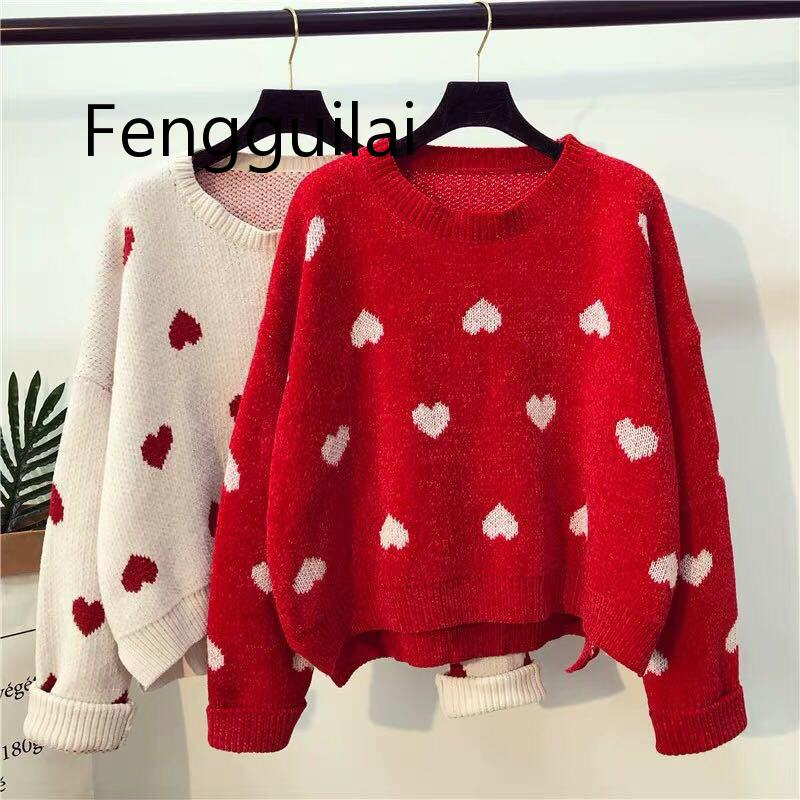 FENGGUILAI Loose Casual Women Knitted Sweater Autumn Winter Ladies O-neck Tops Pullover Korean Christmas Sweaters Hearts Knitwea new autumn winter knitted sweaters women christmas theme cute snowman and christmas tree ugly christmas sweater pullover women
