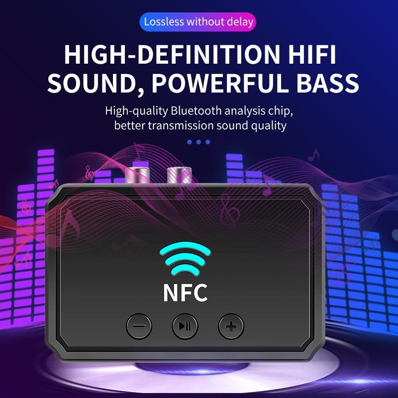 Novo nfc bluetooth-compatível receptor aux 3.5mm rca jack usb reprodução inteligente adaptador de áudio estéreo sem fio para tv kit carro alto-falante