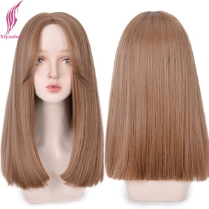 Yiyaobess 22inch Middle Part Long Straight Cosplay Wig Synthetic Natural Hair Black Brown African American Wigs For Women Peluca