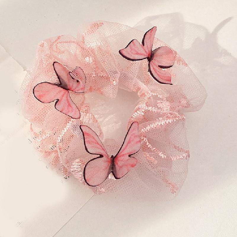 1pc transparente borboleta chiffon scrunchie malha tule faixas de cabelo elástico feminino doce laço de cabelo corda acessórios para o cabelo faixa de borracha