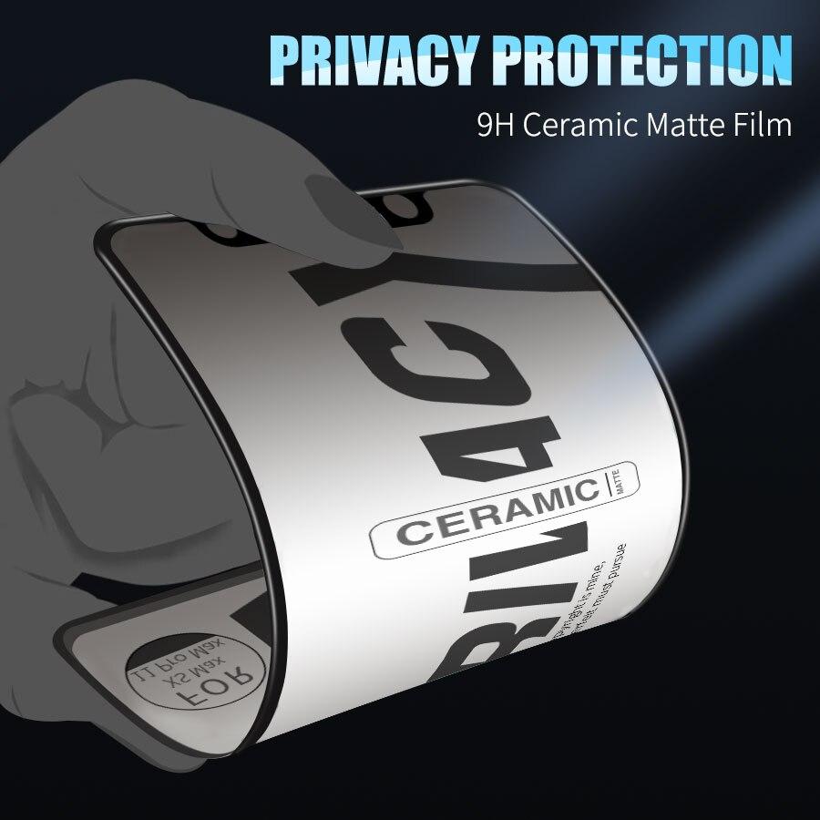 Matte Soft Ceramic Privacy Screen Protectors for IPhone 11 Pro Max 12 Pro Max X XS XR 7 8 6 S Plus SE Anti-spy Protective Film