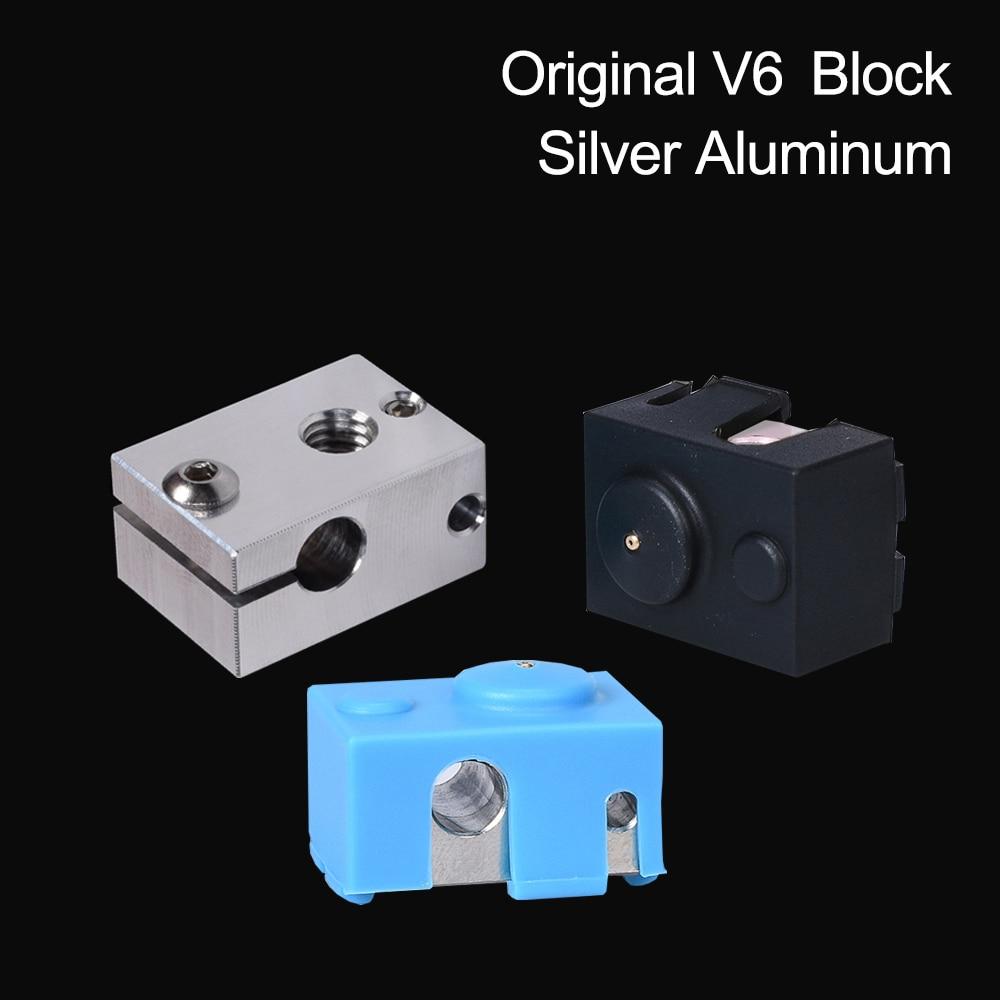 3D Printer Parts V6 Heater Block Silver Aluminum Block For E3D V6 Hotend Extruder+ V6 Silicone Sock Heated Block To PT100 Titan