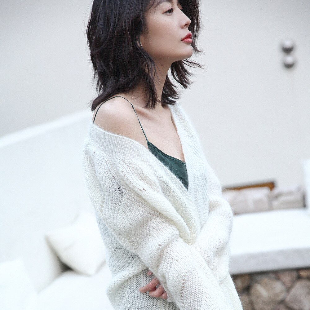 2021 Spring New Mohair Wool Hollow Out Long Knitted Cardigan Holiday Sweaters Fashion Pockets High Street Open Stitch Women Wear enlarge