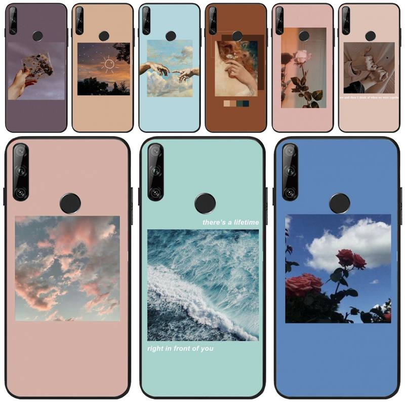 Jemy Pink Aesthetics songs lyrics Soft black Phone Case For Huawei Y5 Y6 Y7 Y9 Prime Pro II 2019 2018 Honor 8 8X 9 lite View9