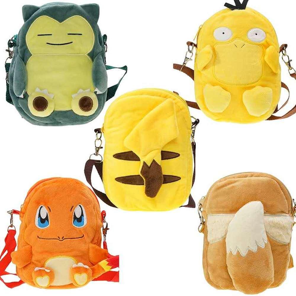 Sac A Dos Pokemon Bag Plush Backpack Pikachu Snorlax Charmander 19CM Children's Messenger Boys and Girls Coin Purse Gifts
