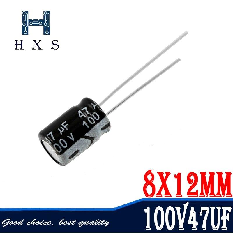 20 шт Высокое качество 100V47UF 8*12 мм 47 (Европа) мкФ 100V электролитический конденсатор с