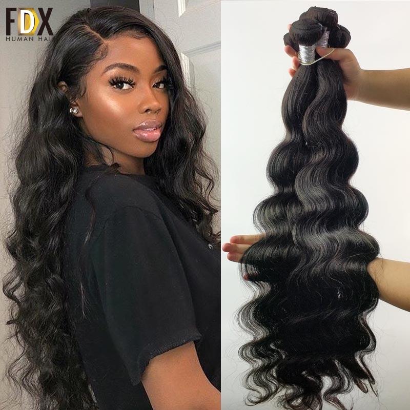 Tissage en lot brésilien Remy Body Wave 30 pouces-FDX   Mèches de cheveux 3/4 naturels, Extensions de cheveux, offre en lots de 1/100% pièces