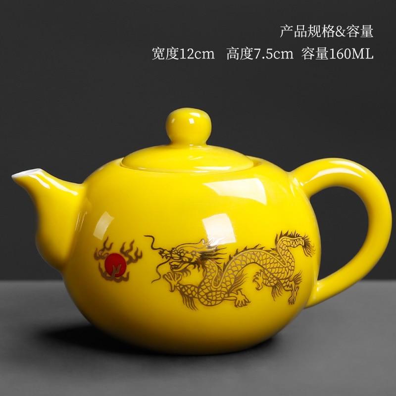 China royal elegante jingdezhen porcelana casa cerâmica amarelo bule de chá fermentação beber bule criativo dragão dourado