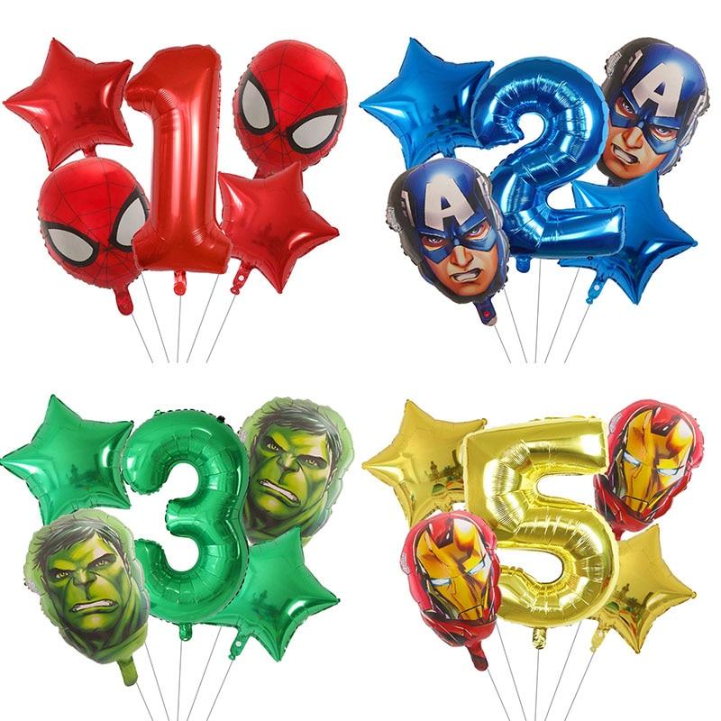 5pcs-spider-hulk-iron-man-palloncini-foil-numero-verde-festa-palloncino-gonfiabile-testa-decorazione-festa-di-compleanno-giocattoli-per-bambini-globos