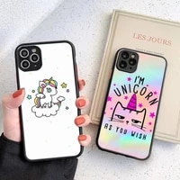 cute unicorn phone case black transparent matte for iphone 7 8 11 12 s mini pro x xs xr max plus cover shell
