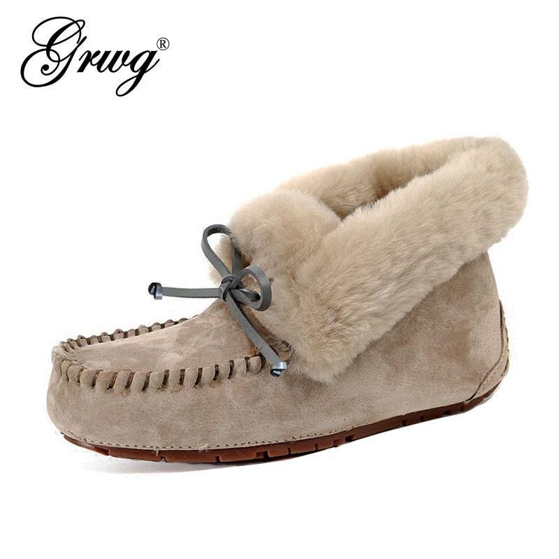 حذاء نسائي من الجلد الطبيعي 100% ، حذاء مسطح مقاوم للماء ، مريح ، شتوي ، دافئ ، فرو طبيعي ، حذاء ثلج عصري مانع للانزلاق