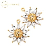 10pcs shiny crystal flower sunflower charms 2521mm gold color alloy sun flowers pendant wholesale for diy jewelry accessories