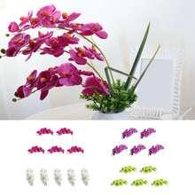 5 uds simulación 3D mariposa orquídea 8 cabezas/Paquete de flores falsas para el hogar cortinas de pared decoración de la boda Diy Phalaenopsis Artificial