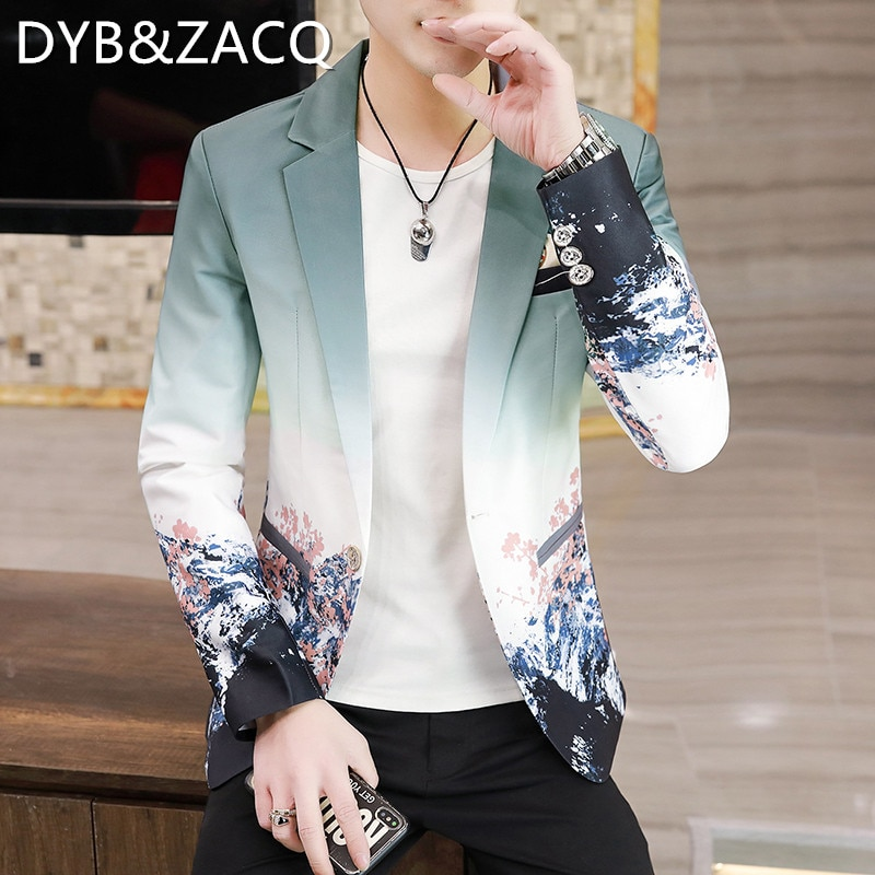 DYB & ZACQ الربيع والخريف الرجال شخصية المطبوعة دعوى النسخة الكورية دعوى صغيرة موضة تصفيفة الشعر الشباب عادية صالح معطف