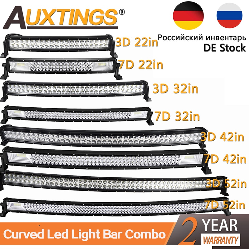 Auxtings 22 32 42 50 52'' Inch Curved Led Light Bar COMBO Led Work light 3D 7D bar Driving Offroad C