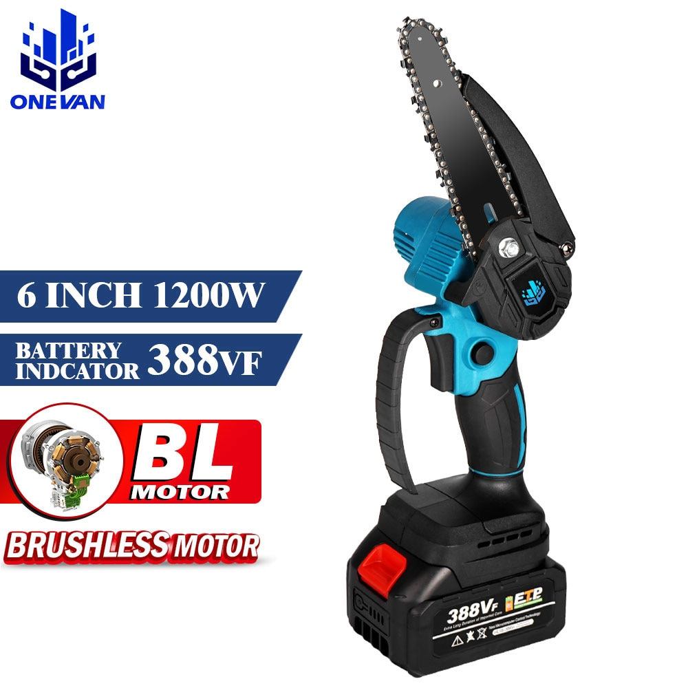 6 inch 1200w mini electric chain saw with battery indicator 128vf 388vf rechargeable woodworking tool for makita 18v battery Brushless 6 Inch Mini Electric Chain Saw With Battery Indicator 128VF/388VF Rechargeable Woodworking Tool For Makita 18V Battery