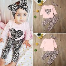 3PCS Baby Girls Outfits T-shirt+Leopard Printed Pants Set Toddler Leopard Clothes Tracksuit Clothes Set