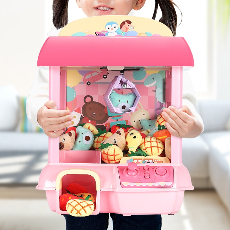 Mini Clip Doll Toy Children Catch Crane Machine Candy Capsule Toy Game Console Coin Wireless Remote Control Operation