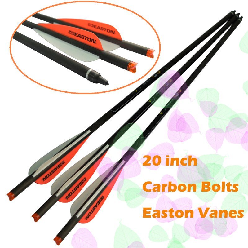aliexpress.com - 6/12X 20″ Carbon Crossbow Bolt with Easton Vane (Red White) 100 Grain Screw Field Point Archery Bow Outdoor Hunting Shooting