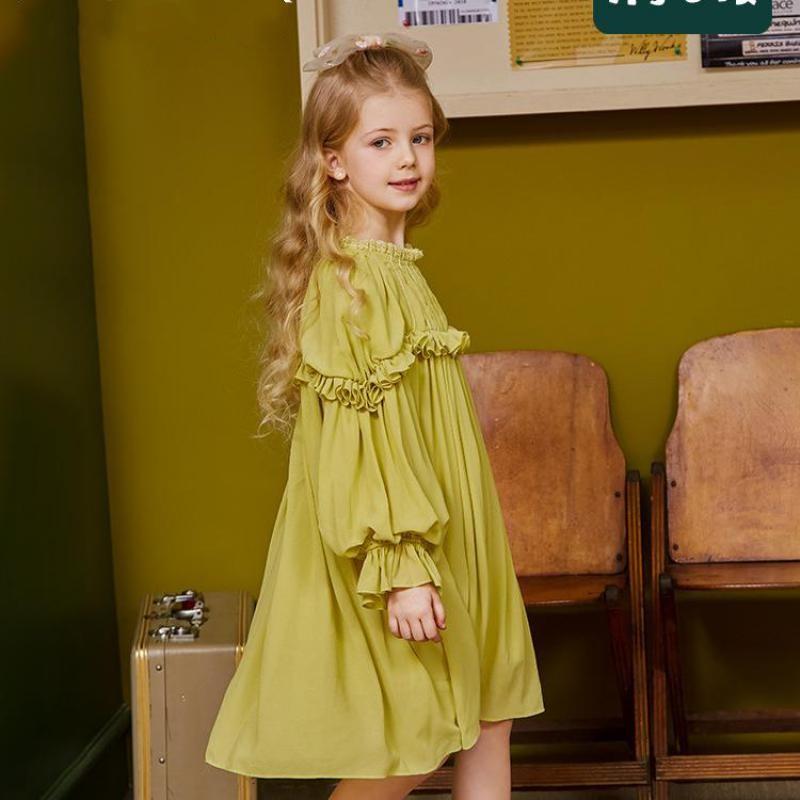 فستان شيفون متوسط الطول للبنات من سن 3 إلى 14 عامًا ، فستان أميرة ناعم بأكمام منتفخة ، ملابس غير رسمية للأطفال