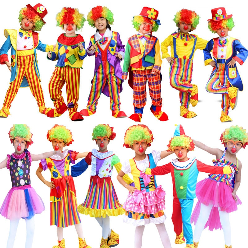 Umorden Children's Day Purim Halloween Circus Clown Costumes Boys Kids Funny Clown Costume Fantasia Infantil Cosplay for Girl halloween purim costumes for kids girls carnival the king prince costume for boy boys children fantasia infantil cosplay child