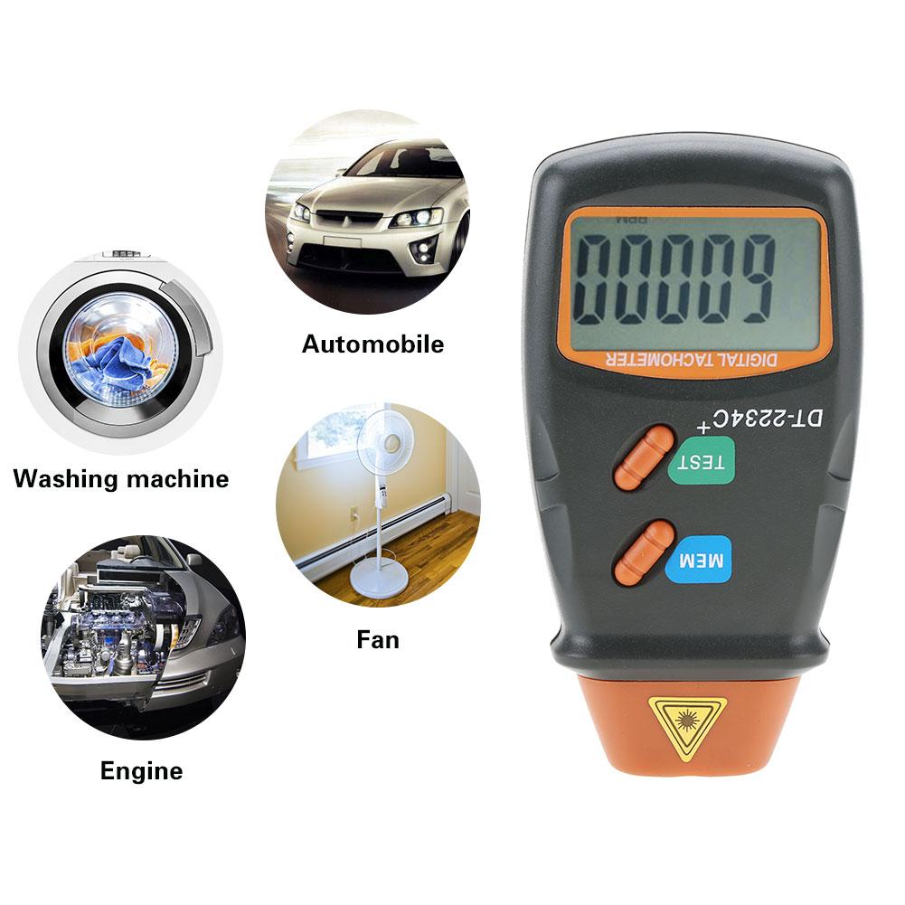 Máquinas de Lavar Dt-2234c + Não-contato 2.5rpm a 99999 Digital Foto Laser Tacômetro Rpm Mini Testador Medidor Motor Rodas Roupa Lcd