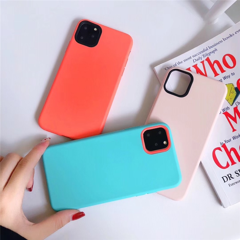 Funda de teléfono Gimfun híbrida de silicona líquida para IPhone 11 Pro Promax funda de Tpu suave de Color sólido para Iphone Xr X Xsmax 6 7 8Plus