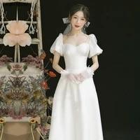 kaunissina romantic white a line wedding dresses for bride puff sleeve split sweetheart long satin bridal wedding gowns vestido