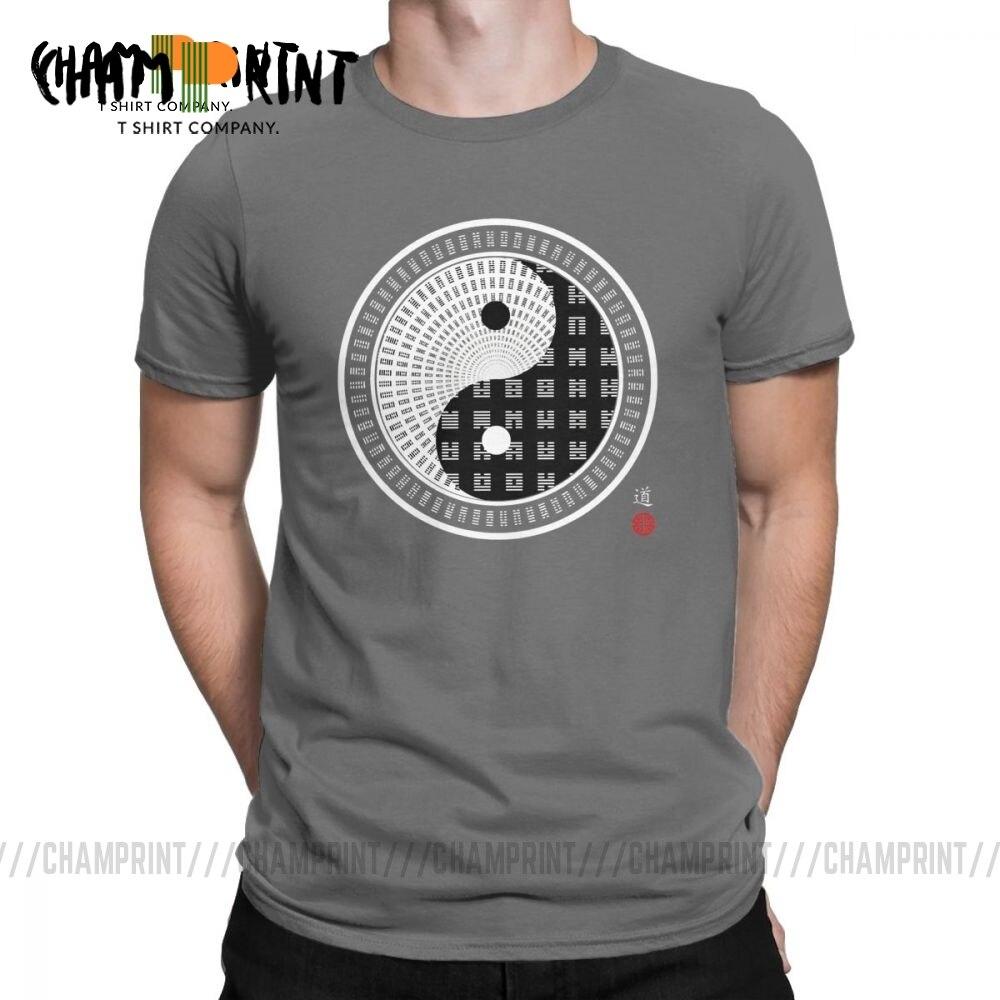 Tai chi yin yang ching 64 hexagrama espiral t camisa para homem algodão divertido camiseta em torno do pescoço t roupas de manga curta nova chegada
