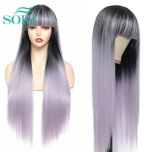Long Straight Synthetic Wig With Bangs Ombre Puple 28 Inches Daily Style Hair SOKU Heat Resistant Fiber For Black Women Cosplay