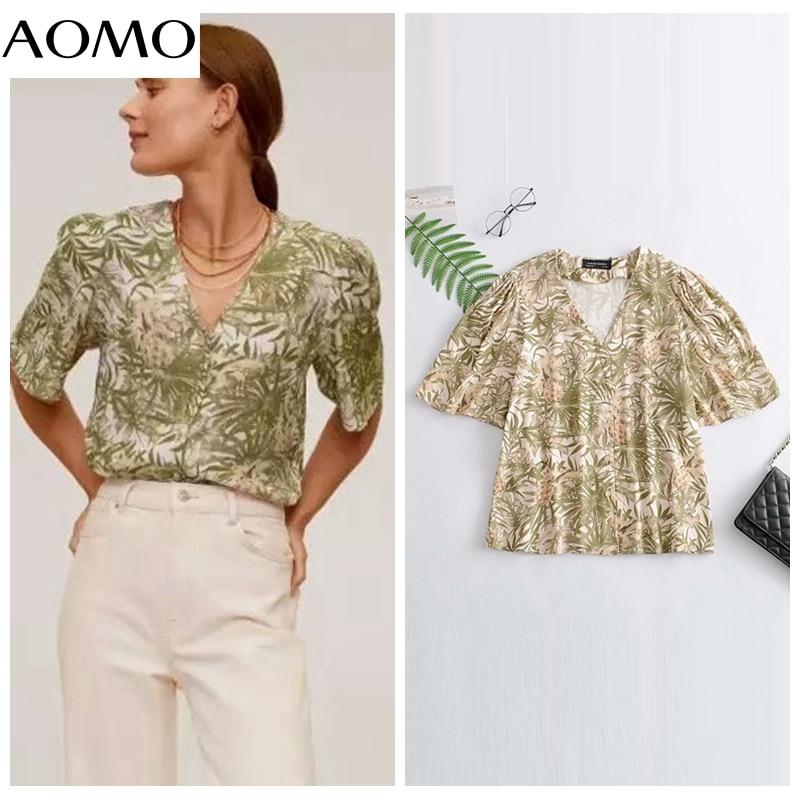 AOMO women retro print loose shirt summer blouse ruffles short sleeve chic female tops 3A25A