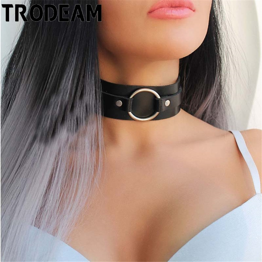 hot black pu leather bdsm fetish bondage sex neck collar adult neck collars ring slave round neck ring role harness lovely xun TRODEAM PU Leather Harness Bdsm Fetish Bondage Sexy Neck Collars Women Neck Chokers Fetish Ring Slave Round Neck Ring Harness