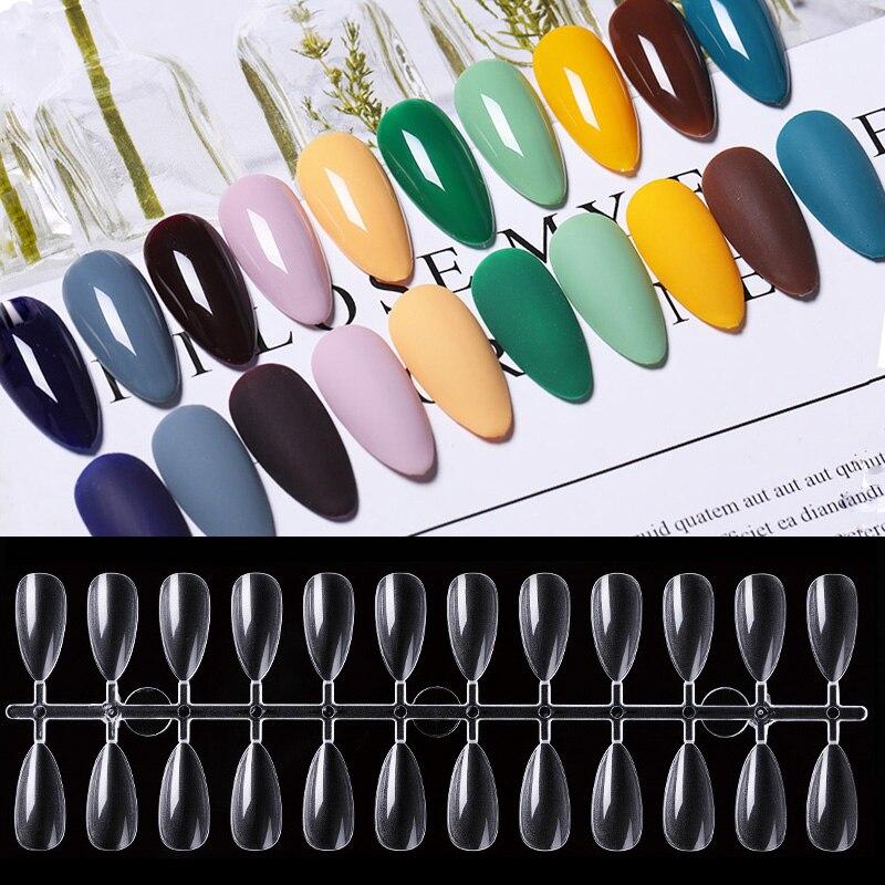Uñas postizas acrílicas transparentes, cobertura completa de uñas postizas en 10 tamaños para manicura DIY, 120 Uds.