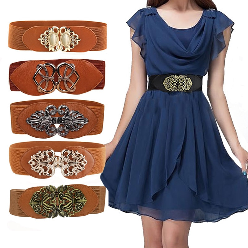 21 types New Women Elastic Wide Belt Thick Vintage Totem Print Stretch Leather Waist Belt For Dress Corset Cinch Waistband Z30