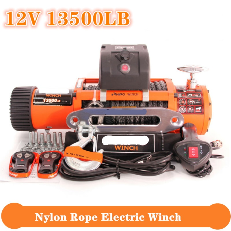 Электрическая лебедка для тяжелых условий эксплуатации, прицеп для мотовездехода, высокопрочный нейлоновый трос, набор кабелей с дистанци...
