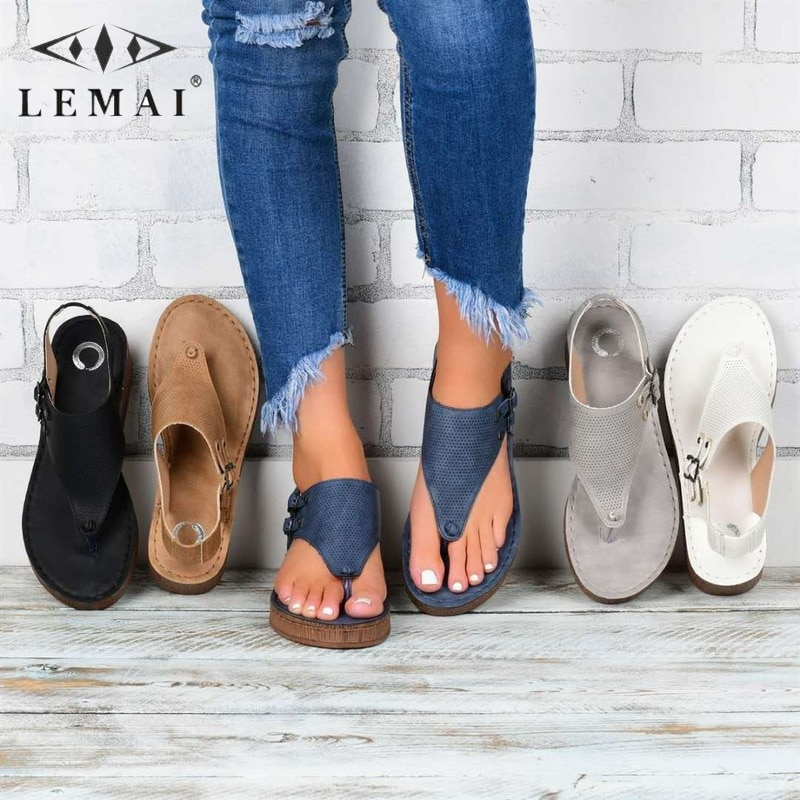 Size 35-43 Fashion Women Summer Flip Flops Sandals Outdoor Casual Buckle Strap Shoes Breathable Beach Clip Toe Sandals for Woman