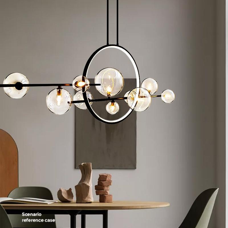Artpad-مصباح معلق دائري Led ، مصباح معلق على شكل حلقة دائرية لغرفة الطعام ، أسود ، أبيض دافئ/بارد ، للمطبخ ، 110 ، 220 فولت