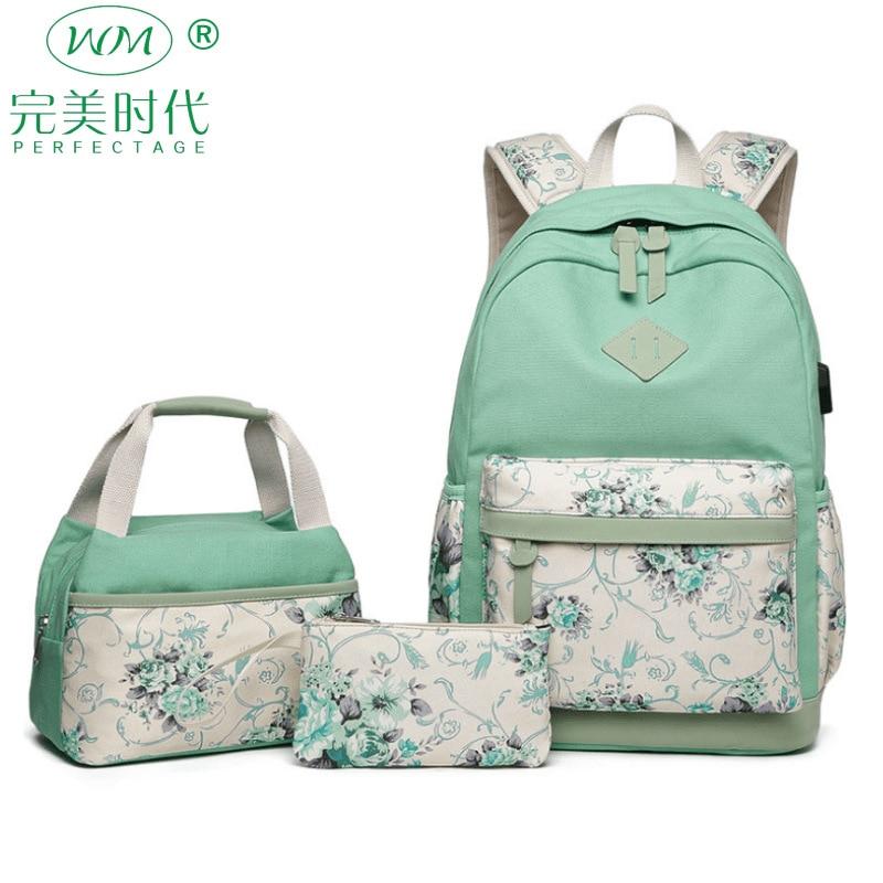 3 Piece Set Nylon Backpack Waterproof Women Backpacks New Fashion Female School Casual Teenager Girl Student Shoulder Bag