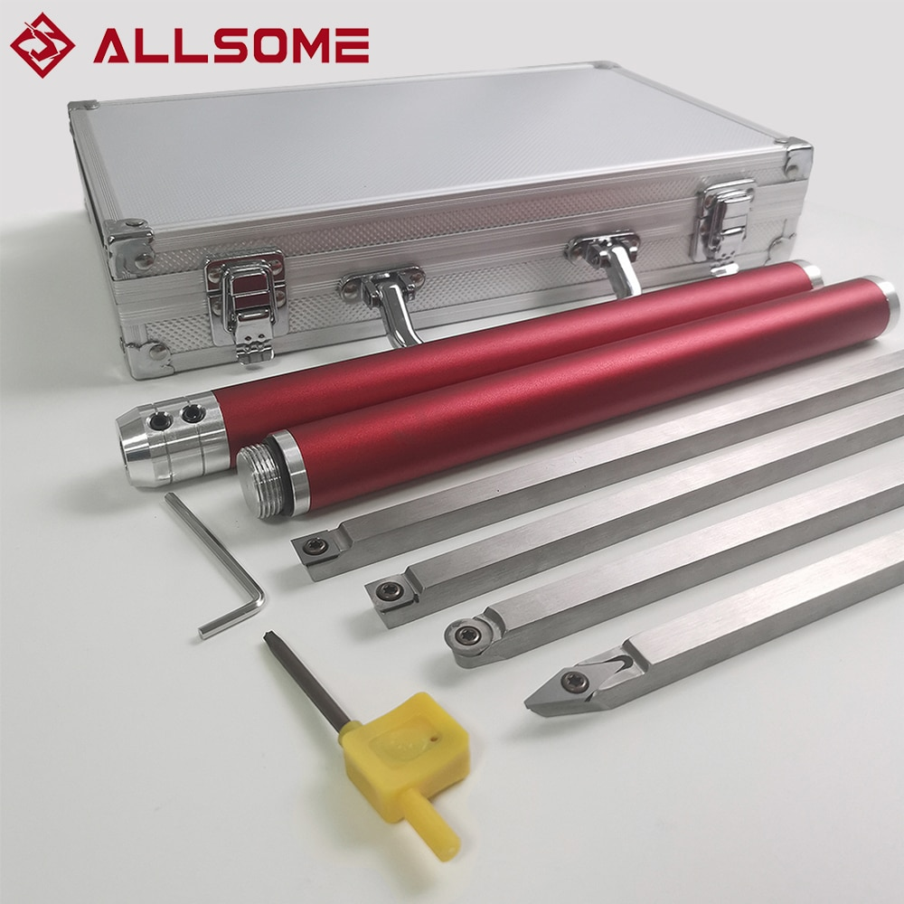 ALLSOME Wood Turning Tool Woodworking Lathe Chisel Set Carbide Insert Cutter Stainless Steel Bar Aluminum Storage Box HT2962