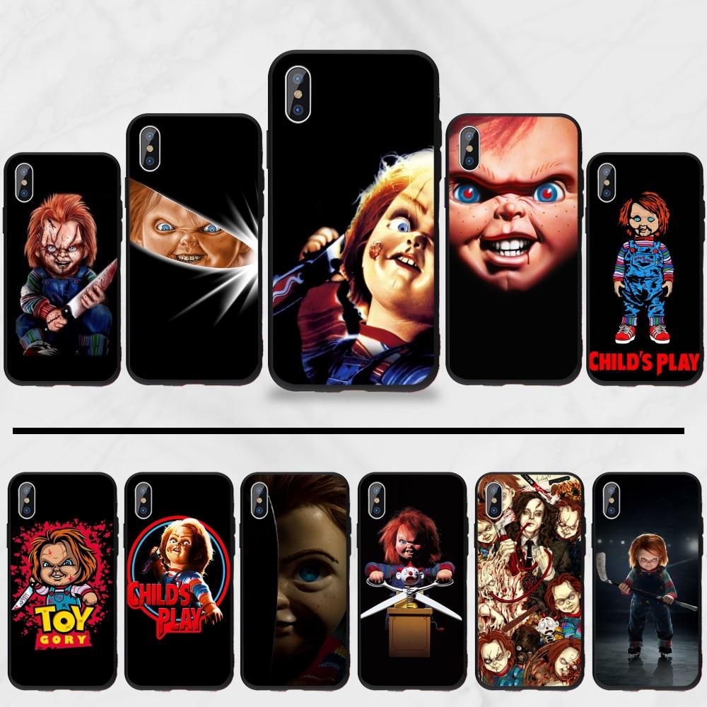 Capa de telefone para iphone 5 5S 5c se 6s 7 8 plus x xs xr 11 pro max filme americano filme de terror ícone chucky childs
