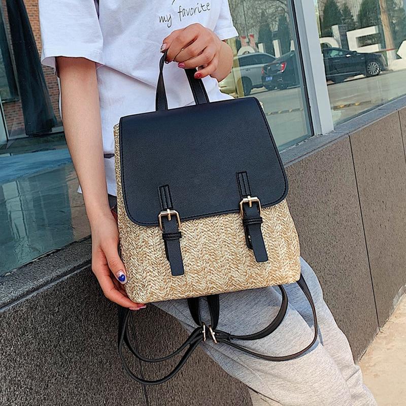 Summer Women's Straw Backpack Casual Beach Backpacks Rattan Woven School Bags for Teenage Girl Luxury Pu Leather Travel Backbag
